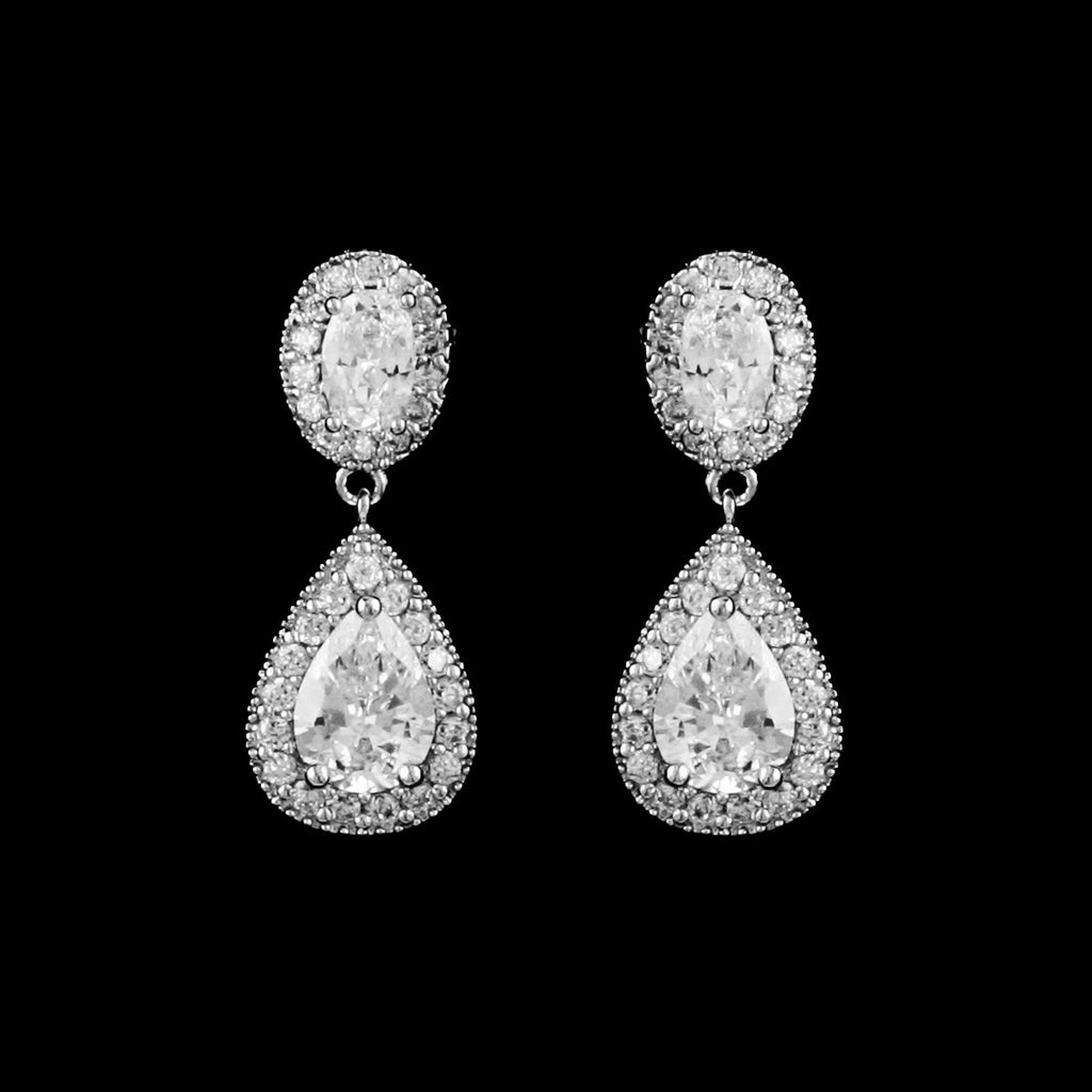 CZ Pear and Oval Dangle Earrings EA-456