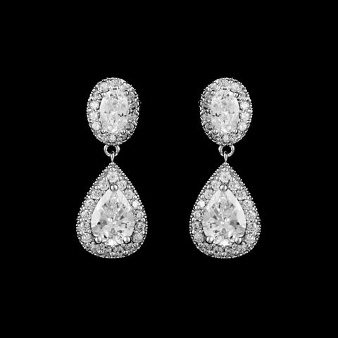 CZ pear and oval Clip-On Earrings EA-456C