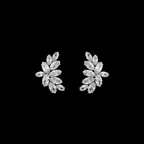 CZ Cluster Clip On Earrings EA-252C