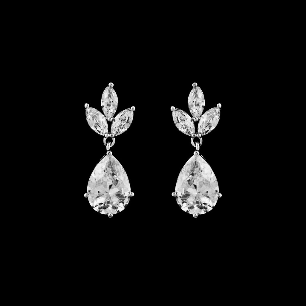 CZ pear drop earrings EA-300