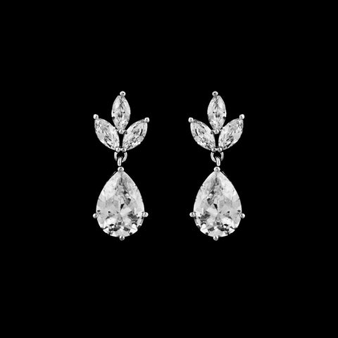 CZ clip on dangle earrings EA-300C