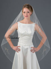 Beaded Edge Wedding Veil V-7057