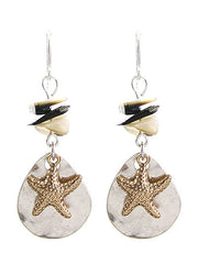 WORN SILVER STARFISH TEARDROP EARRING 130872-WS
