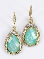 FASHION TEAR DROP CRYSTAL RHINESTONE ACCENT EARRING