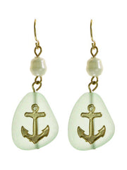 Anchor Green Acrylic Dangle Earrings with Pearl Accent
