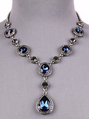 Montana Blue Crystal Y Drop Necklace