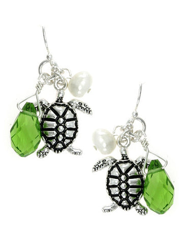 Turtoise, Silver Tone Dangle Earrings with Various Accents
