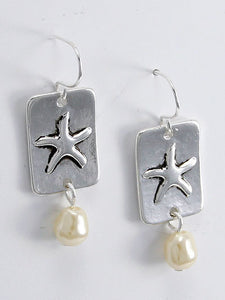 Starfish with Pearl Bead Fish Earring