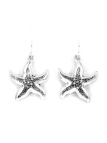 STARFISH, SILVER TONE METAL DANGLE EARRINGS W/ RHINSTONE ACCENT