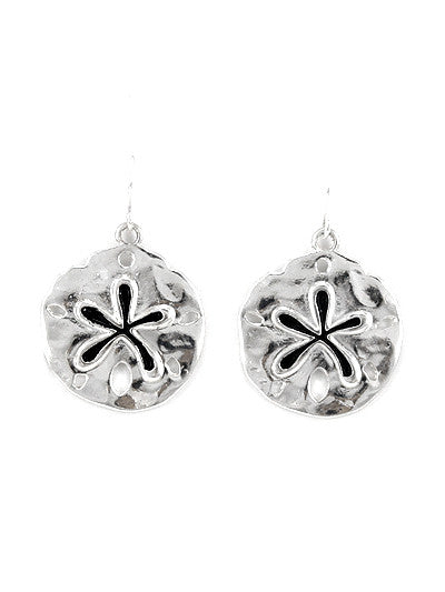 Silver Tone Metal Floral Pattern Engrave Dangle Earrings with Black Epoxy Accent