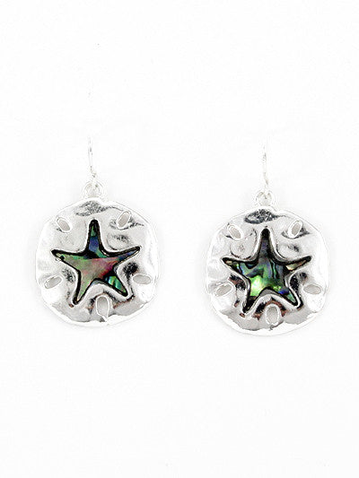 Silver Tone Metal Star Dangle Earrings with Shell Accents