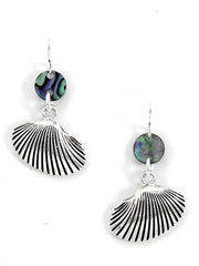 Sea Shell with Shell Fish Dangle Earrings