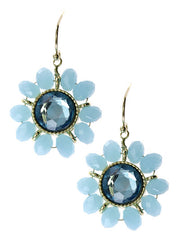 Blue Crystal, Floral Design Gold Tone Metal Dangle Earrings