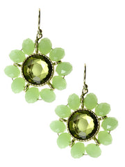 Green Crystal, Floral Design Gold Tone Metal Dangle Earrings