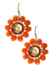 Orange Crystal, Floral Design Gold Tone Metal Dangle Earrings