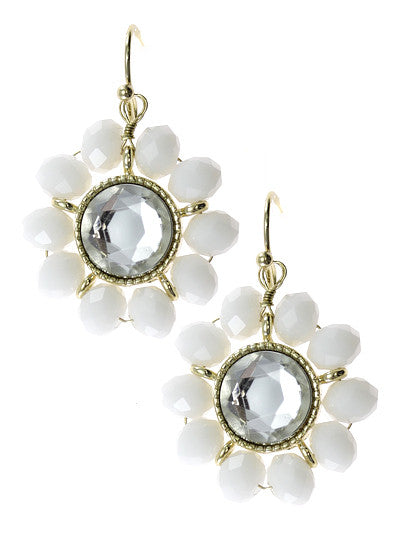 White Crystal, Floral Design Gold Tone Metal Dangle Earrings