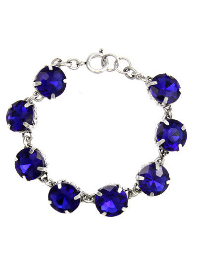 Small Blue Crystals, Silver Tone Metal Bracelet