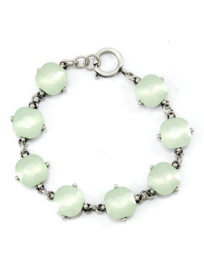 Light Green Crystals, Burnt Silver Tone Metal Hook Bracelet