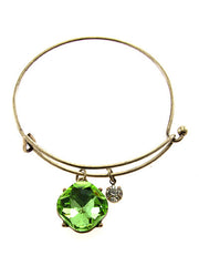 Green Crystal on Gold Tone Metal Hook Bracelet