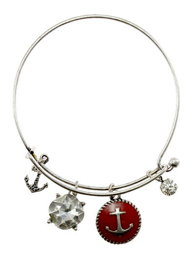 Red Tone Epoxy Anchor, Silver Tone Metal Hook Bracelet