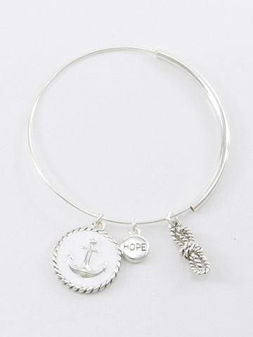 Fashion Anchor, Rope, Hope Charm Bracelet (white)