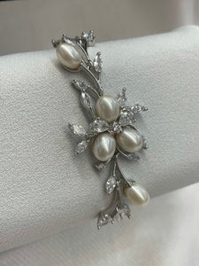 Freshwater Pearl and CZ Floral Bracelet