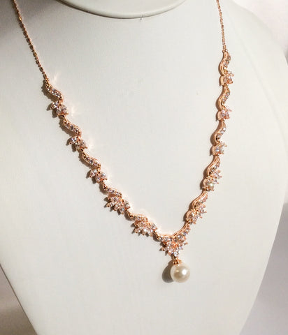 Rose Gold dainty CZ and pearl drop necklace