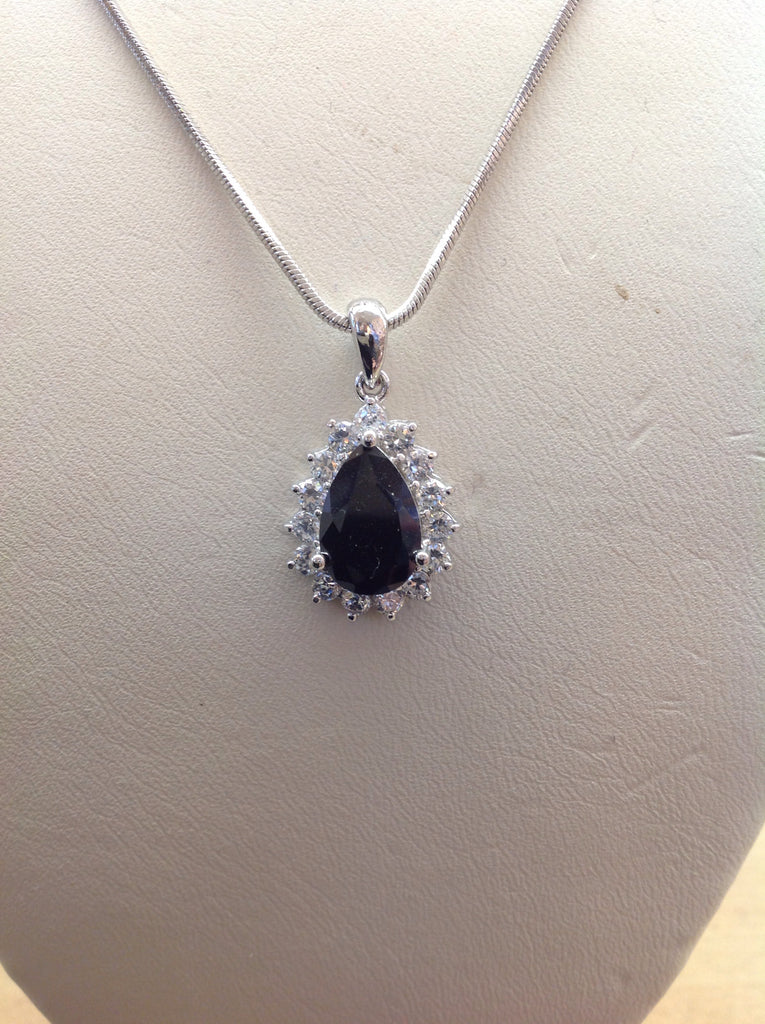 CZ Pear Halo Pendant Necklace
