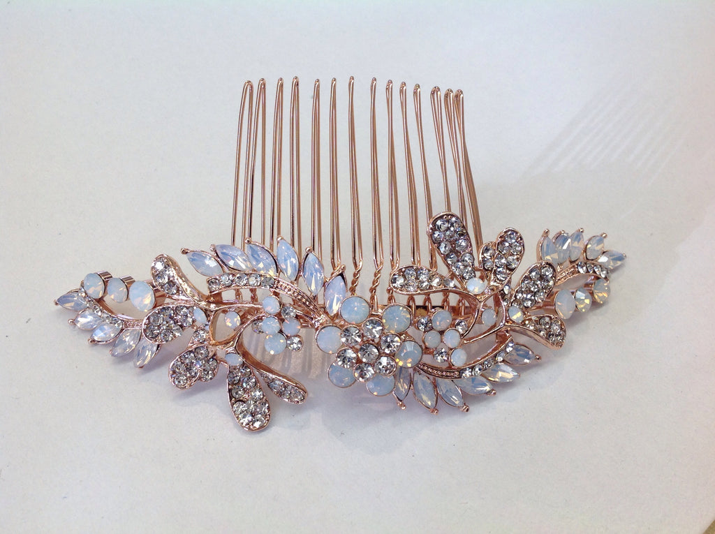 Rose Gold Opal Hair Comb