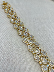 Gold 3 row Pear shape CZ Bracelet