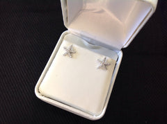 Sterling Silver CZ Starfish Stud Earrings
