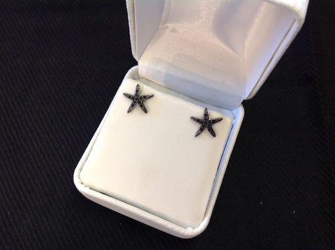 Sterling Silver Gunmetal and Black CZ Star Earrings