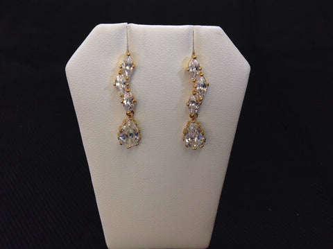 14K Gold Plated CZ Cascade Drop Earrings