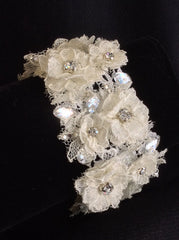 Flower lace and crystal bracelet