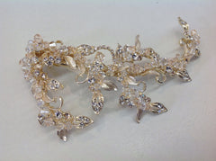 Gold and Champagne Crystal and Leaf Hair Clip