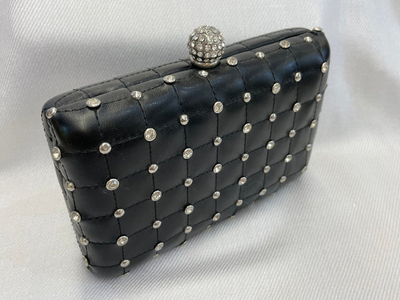 Black Quilted Clutch with Rhinestones