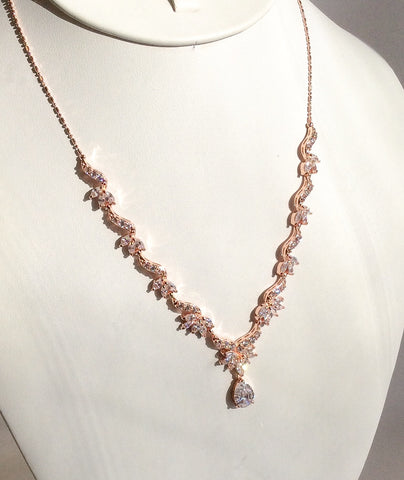 Rose Gold dainty CZ necklace