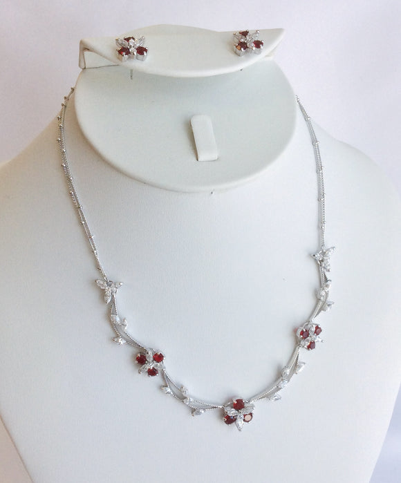 Ruby and CZ dainty flower necklace set