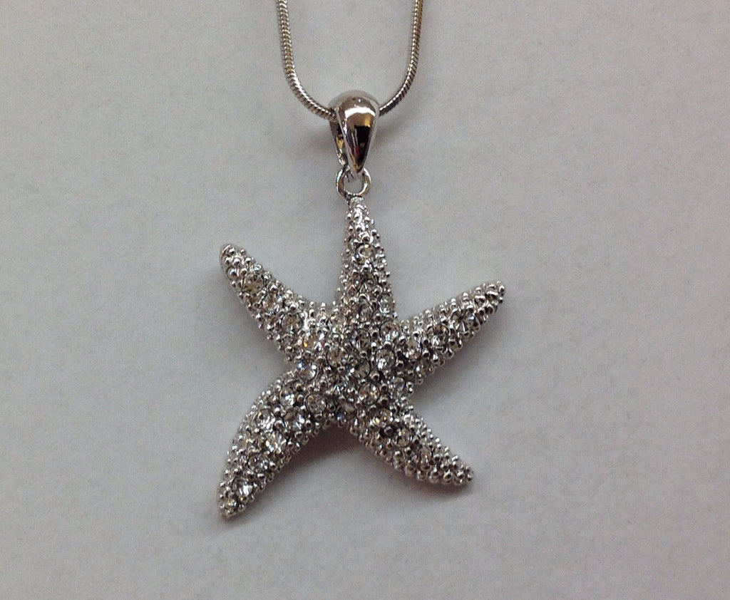 Crystal Starfish Pendant necklace