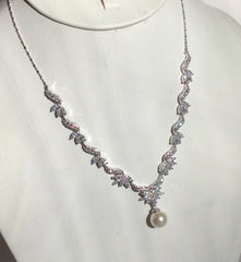 Silver dainty CZ and pearl drop necklace