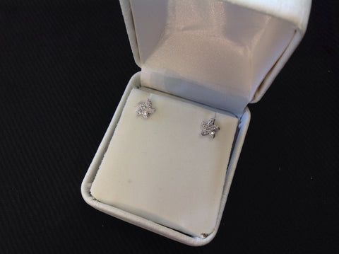 Sterling Silver Mini CZ Starfish Stud Earrings