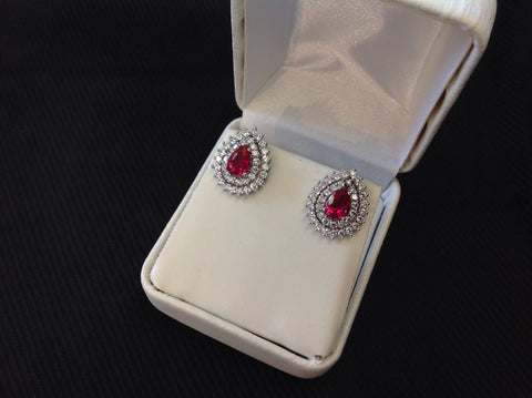 Sterling Silver Ruby CZ Teardrop Earrings