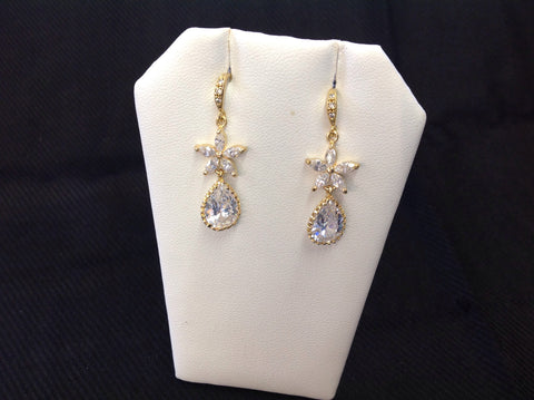 14K Gold Plated CZ Flower and Teardrop Earrings