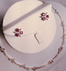 Ruby and CZ floral necklace set