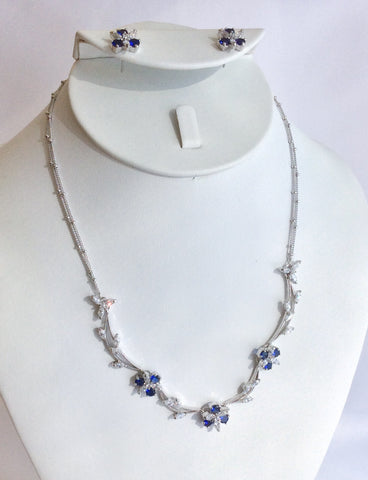 Sapphire and CZ dainty flower necklace set