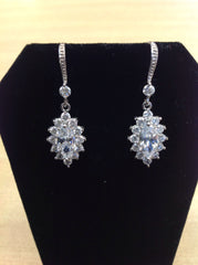 CZ Marquise Halo Earrings
