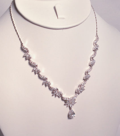 Silver dainty CZ drop necklace