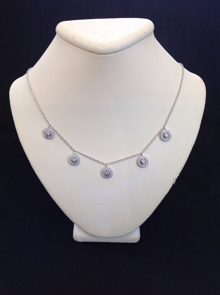 Sterling Silver Round CZ Drops Necklace