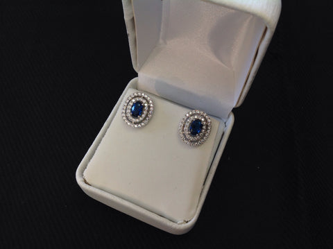 Sterling Silver Sapphire CZ Halo Earrings
