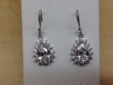 CZ Large Pear Shape Dangle Earrings